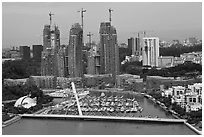 Marina and towers under construction. Singapore (black and white)