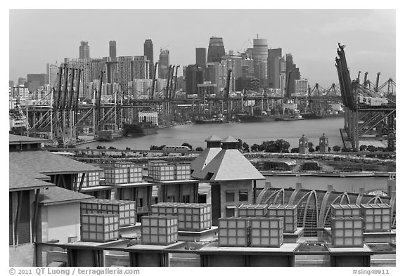 Shipping harbor and skyline. Singapore (black and white)