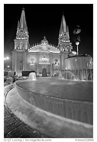 Fountain on Plazza de los Laureles and Cathedral by night. Guadalajara, Jalisco, Mexico (black and white)