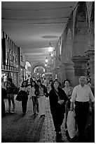 Shopping arcade by night. Guadalajara, Jalisco, Mexico (black and white)