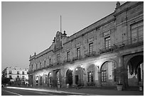 Presidencial Municipal (city hall) at dawn. Guadalajara, Jalisco, Mexico (black and white)