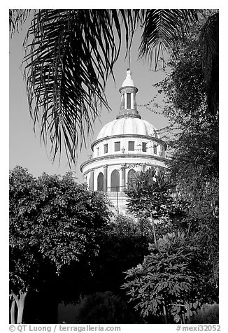 Cathedral dome seen from the park, Tlaquepaque. Jalisco, Mexico