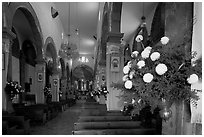 Nave of Church, Tlaquepaque. Jalisco, Mexico (black and white)