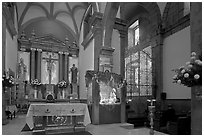 Interior of church with altar and nativity, Tlaquepaque. Jalisco, Mexico (black and white)