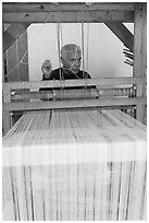 Man operating a weaving machine, Tlaquepaque. Jalisco, Mexico ( black and white)