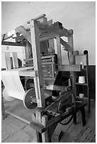 Traditional weaving machine, Tlaquepaque. Jalisco, Mexico (black and white)