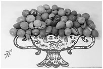 Ceramic fruits, museo regional de la ceramica de Jalisco, Tlaquepaque. Jalisco, Mexico (black and white)