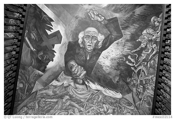 Stairway ceiling with portrait of angry Miguel Hidalgo by  Jose Clemente Orozco. Guadalajara, Jalisco, Mexico (black and white)