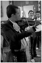 Mariachi violonist, Tlaquepaque. Jalisco, Mexico (black and white)