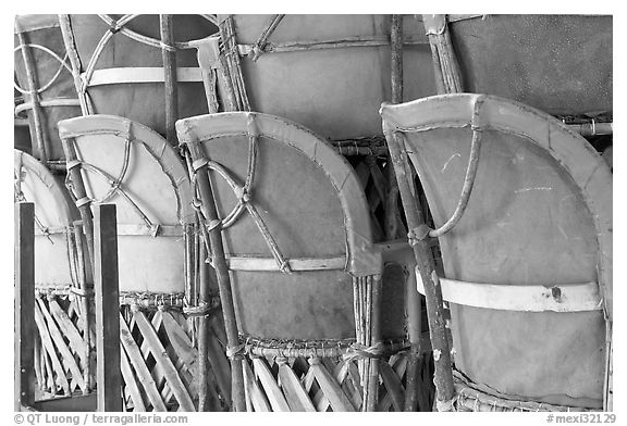 Cafe chairs, Tlaquepaque. Jalisco, Mexico (black and white)