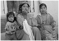 Woman in tradtional costume and girls, Tonala. Jalisco, Mexico (black and white)