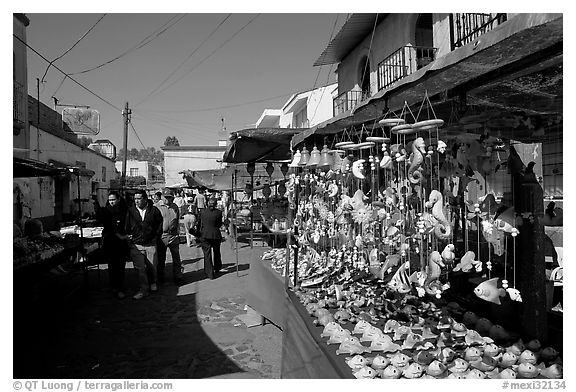 Art and craft market in the streets, Tonala. Jalisco, Mexico (black and white)