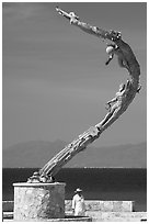 Sculpture called Los Milenios by Fernando Banos on waterfront, Puerto Vallarta, Jalisco. Jalisco, Mexico ( black and white)
