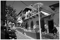 Residential street, Puerto Vallarta, Jalisco. Jalisco, Mexico (black and white)