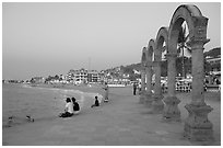 Arches on the Malecon at dusk, Puerto Vallarta, Jalisco. Jalisco, Mexico ( black and white)