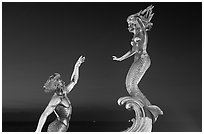 Mermaid statue by night, Puerto Vallarta, Jalisco. Jalisco, Mexico ( black and white)