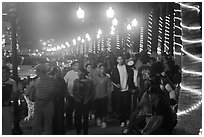 Crowds on the Malecon at night, Puerto Vallarta, Jalisco. Jalisco, Mexico ( black and white)