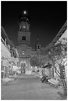 Cathedral seen from Plaza de Armas, Puerto Vallarta, Jalisco. Jalisco, Mexico ( black and white)