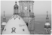 Templo de Guadalupe Cathedral and ocean, early morning, Puerto Vallarta, Jalisco. Jalisco, Mexico ( black and white)