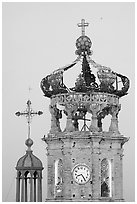 Crown of Templo de Guadalupe Cathedral , Puerto Vallarta, Jalisco. Jalisco, Mexico ( black and white)