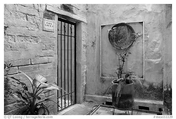 Artistically decorated entrance to a home , Puerto Vallarta, Jalisco. Jalisco, Mexico (black and white)