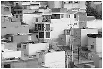 Vividly painted houses on hill. Zacatecas, Mexico ( black and white)