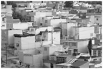 Neighborhood of houses painted in bright colors. Zacatecas, Mexico (black and white)