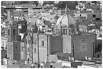 Temple de Santo Domingo seen from above. Zacatecas, Mexico (black and white)