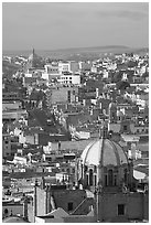 Dome of the Cathedral with Temple of Fatina in the background. Zacatecas, Mexico (black and white)