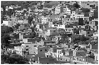 Neighborhood vith colorful houses seen from above. Zacatecas, Mexico (black and white)