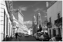 Hidalgo avenue and Cathdedral, morning. Zacatecas, Mexico (black and white)