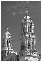 Churrigueresque towers of the Cathedral. Zacatecas, Mexico (black and white)