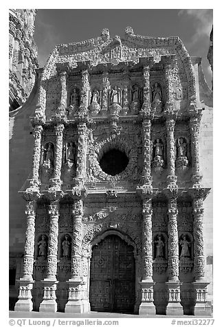 Churrigueresque carvings on the facade of the Cathdedral. Zacatecas, Mexico (black and white)