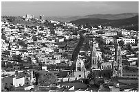 Panoramic view of Cathedral and town, late afternoon. Zacatecas, Mexico ( black and white)