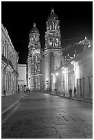 Hidalgo Avenue and Cathedral at night. Zacatecas, Mexico (black and white)