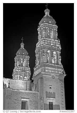 Churrigueresque towers of the Cathedral by night. Zacatecas, Mexico (black and white)