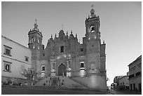 Church Santo Domingo at dawn. Zacatecas, Mexico (black and white)