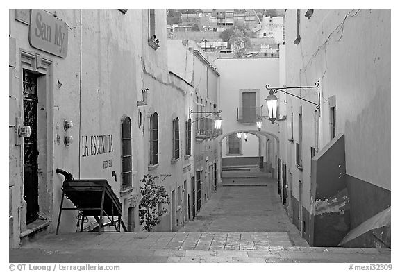 Passageway at dawn. Zacatecas, Mexico (black and white)