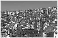 Panoramic view of Cathedral and town, morning. Zacatecas, Mexico ( black and white)