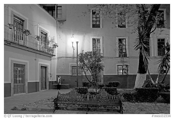 Jardin de la Reforma by night. Guanajuato, Mexico (black and white)