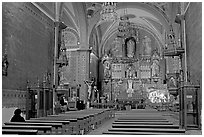 Church nave with decorated altar. Guanajuato, Mexico ( black and white)