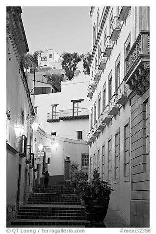 Street with steps at dawn. Guanajuato, Mexico (black and white)