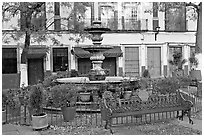 Fountain and public bench on Plazuela San Fernando. Guanajuato, Mexico (black and white)