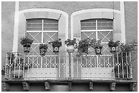 Balcony with potted flowers. Guanajuato, Mexico ( black and white)