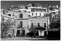 Houses on hill above  Plazuela San Fernando. Guanajuato, Mexico (black and white)