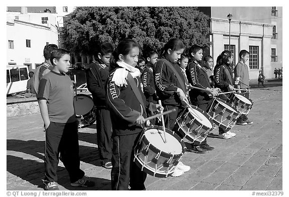Children practising in a marching band. Guanajuato, Mexico (black and white)