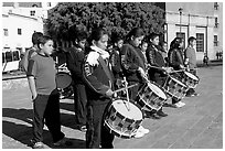 Children practising in a marching band. Guanajuato, Mexico ( black and white)
