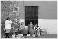 Women selling vegetables on the street. Guanajuato, Mexico ( black and white)