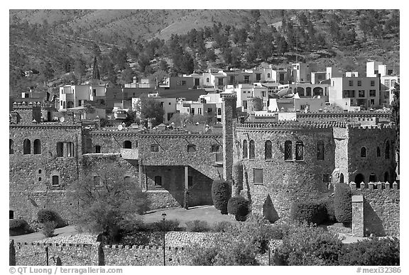 Castle and colorful houses. Guanajuato, Mexico (black and white)