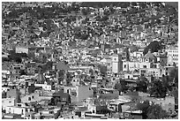 View of the city center from Pipila, mid-day. Guanajuato, Mexico ( black and white)